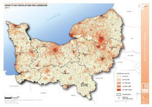 La densité de population par commune en 2011