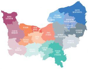 Normandie. Carte des 19 bassins d'éducation - 2019