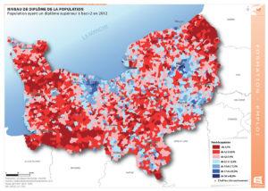 Niveau de diplôme de la population - Population ayant un diplôme supérieur à bac+2 en 2012