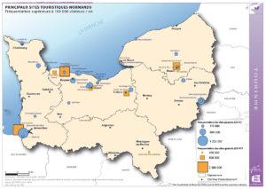 Principaux sites touristiques normands - Fréquentation supérieure à 100 000 visiteurs / an
