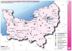 Les établissements d'enseignement privés et publics de Normandie - Année scolaire 2017-2018